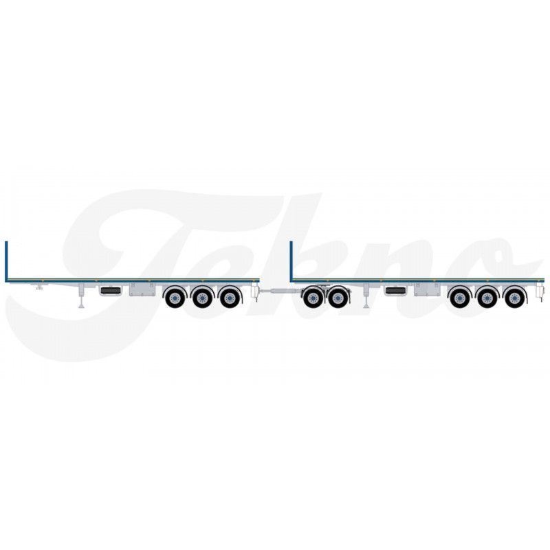 Australian Double Flatbed Blue 2 Flatbed Trailers With 1 Dolly