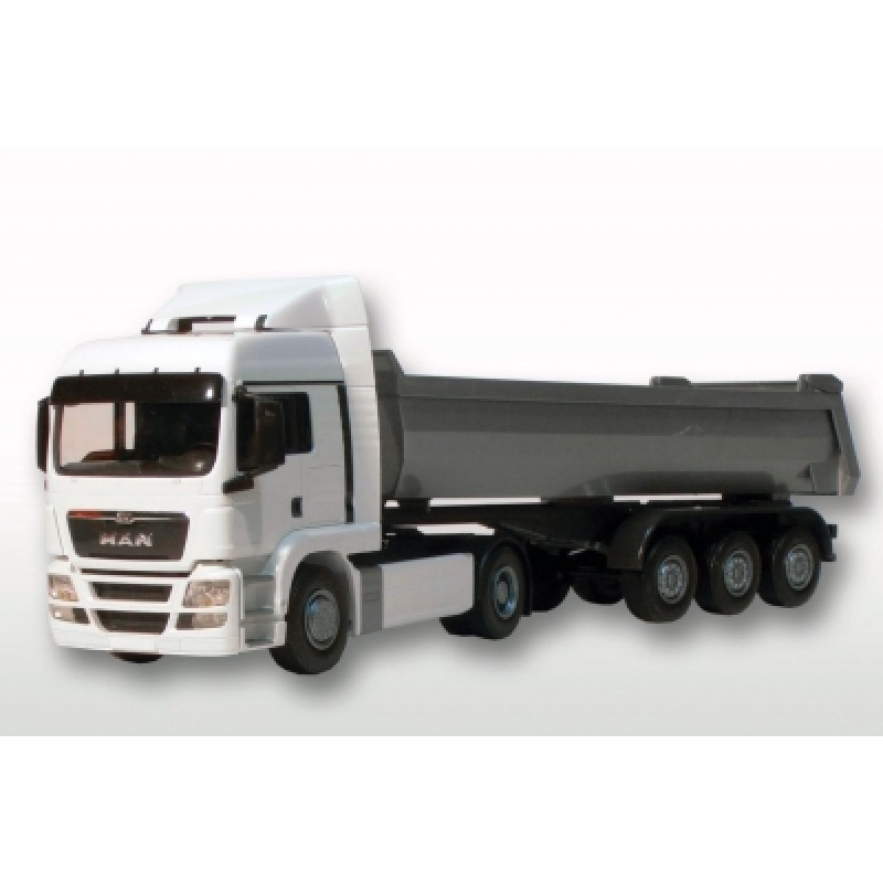 Man Tgs Lx 4X2 With Tipping Trailer - White Cab 1:25 Scale