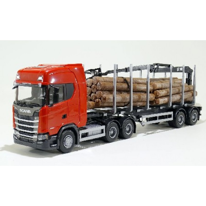 Red Scania CS410 6X4 Timber Semitrailer 1:25 Scale