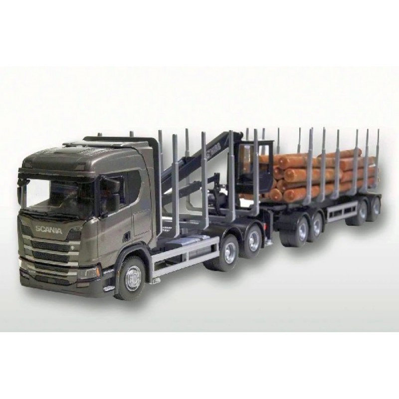Grey Scania Cr500 6X4 Timber Trailer 1:25 Scale