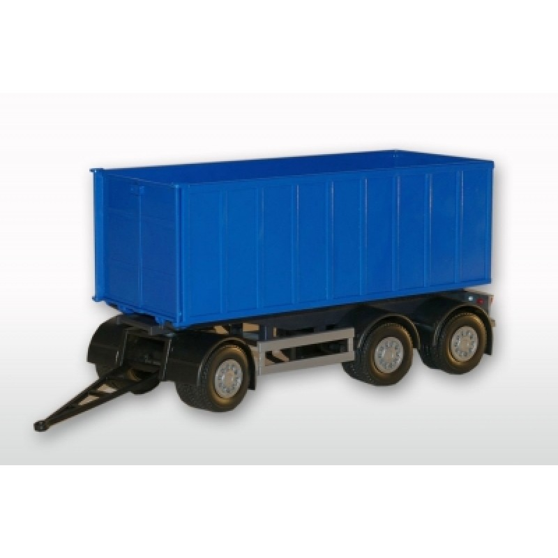 3-Axle Roll-Off Container With Trailer - Blue 1:25 Scale