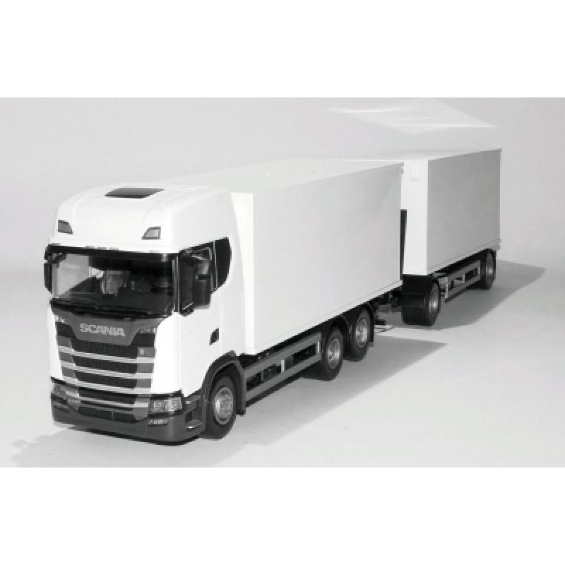 Scania Cs20H 6X4 Rigid Box With Box Trailer - White 1:25 Scale