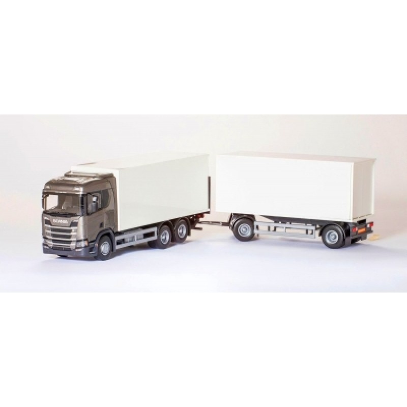 Scania Cs20H 6X4 Rigid Box With Box Trailer - Gray 1:25 Scale