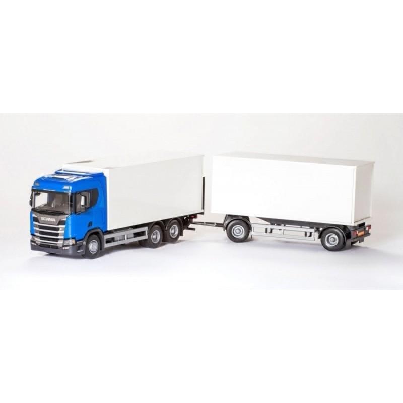 Scania Cs20H 6X4 Rigid Box With Box Trailer - Blue 1:25 Scale