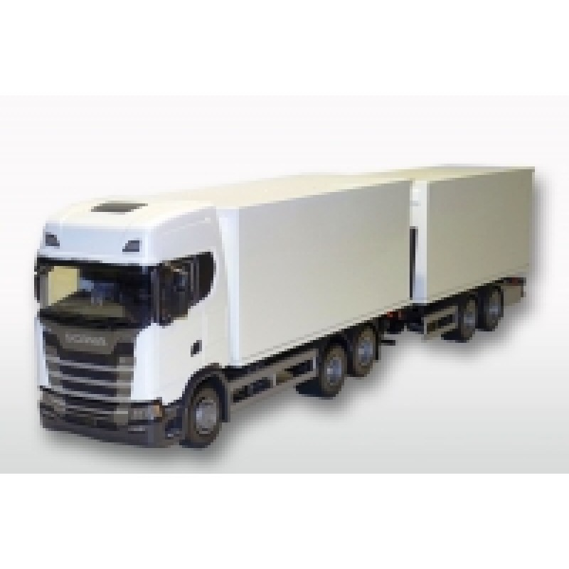 Scania Cs20H 6X4 Rigid Box With Tandem Trailer - White 1:25 Scale