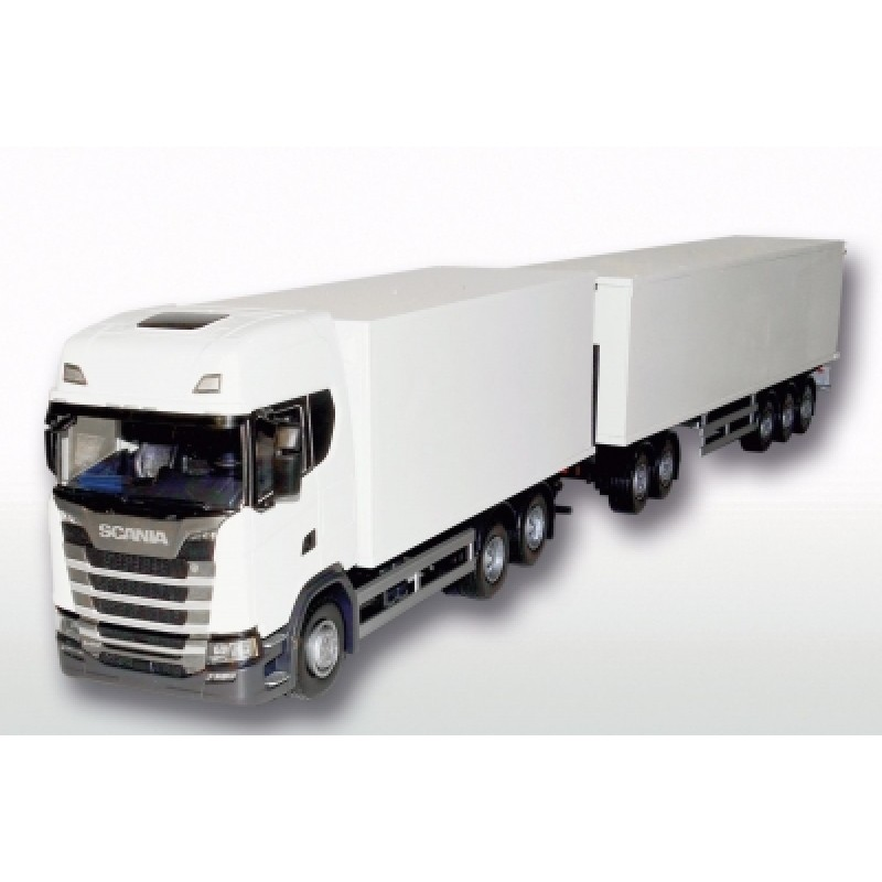 Scania Cs20H 6X4 Rigid Box With Eurocombi Trailer - White 1:25 Scale