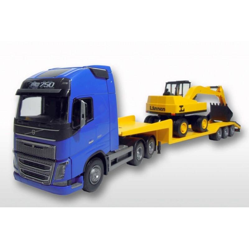 Volvo FH 6x4 Blue Cab Low Loader and Dreischsiger Dumper Truck