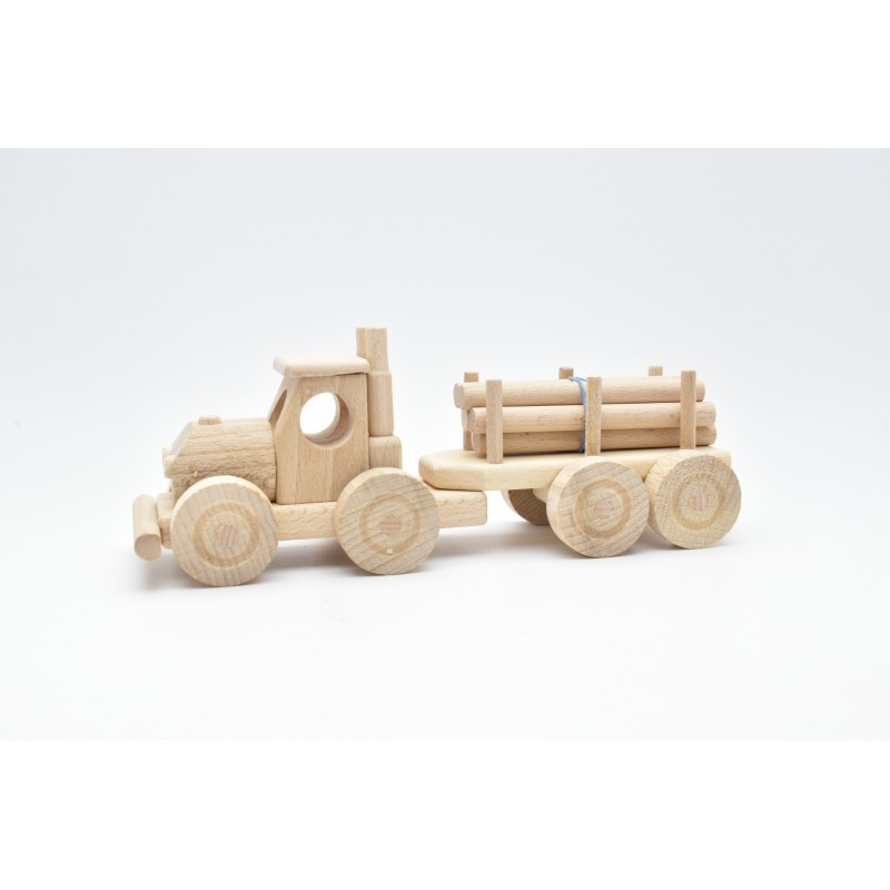 Tractor With Trailer & Load Wood Model